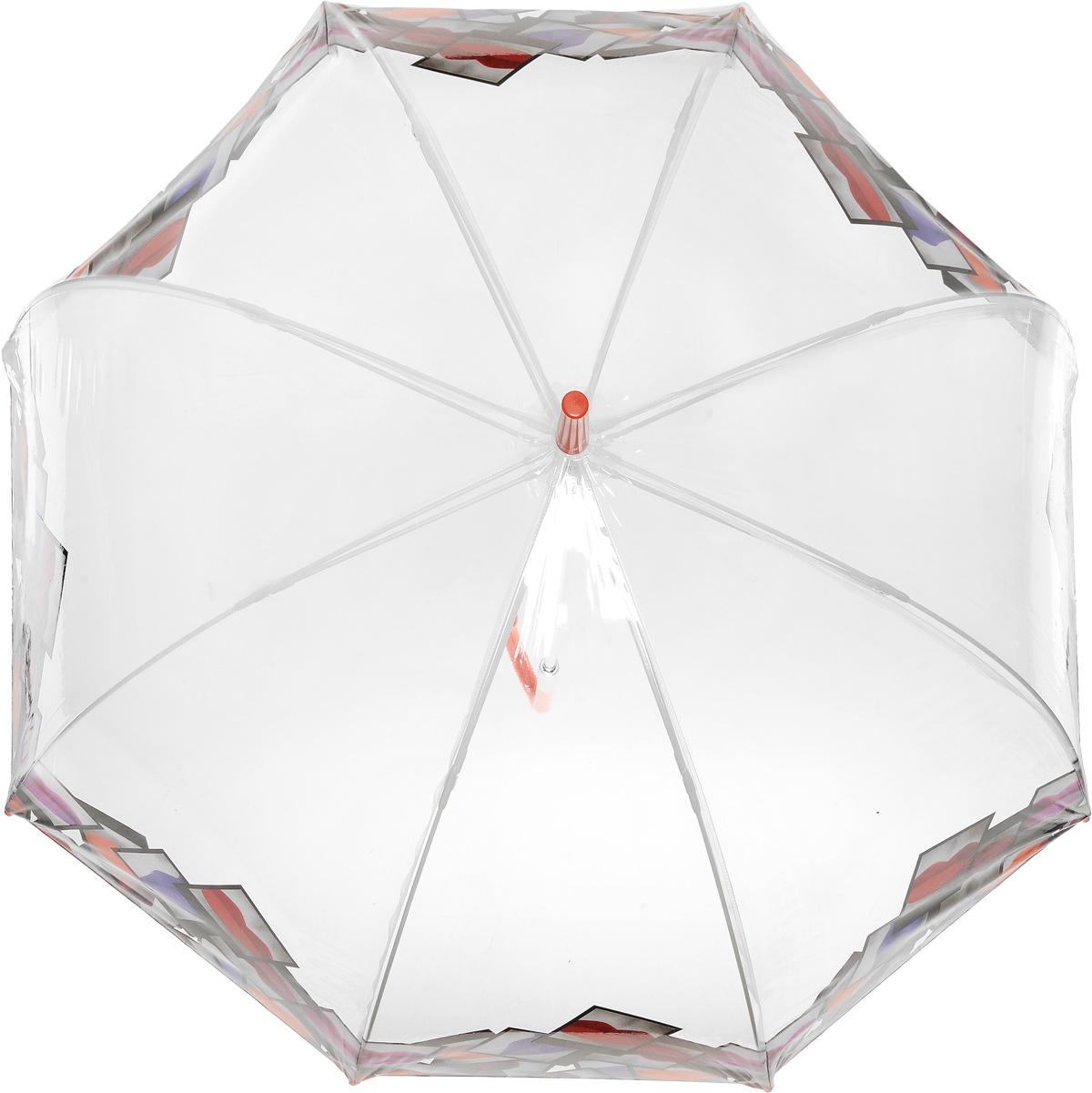 Зонт-трость женский Lulu Guinness Birdcage, механический, цвет: прозрачный. L719-3079L719-3079 LipsPolaroidBorderНеобычный механический зонт-трость Lulu Guinness Birdcage даже в ненастную погоду позволит вам оставаться модной и элегантной. Каркас зонта включает 8 спиц из фибергласса с пластиковыми наконечниками. Стержень изготовлен из стали. Купол зонта выполнен из высококачественного прозрачного ПВХ и оформлен по краю оригинальным принтом. Изделие дополнено удобной пластиковой рукояткой с металлическим элементом. Зонт механического сложения: купол открывается и закрывается вручную до характерного щелчка. Модель дополнительно застегивается с помощью хлястика на кнопку. Такой зонт не только надежно защитит вас от дождя, но и станет стильным аксессуаром, который идеально подчеркнет ваш неповторимый образ.