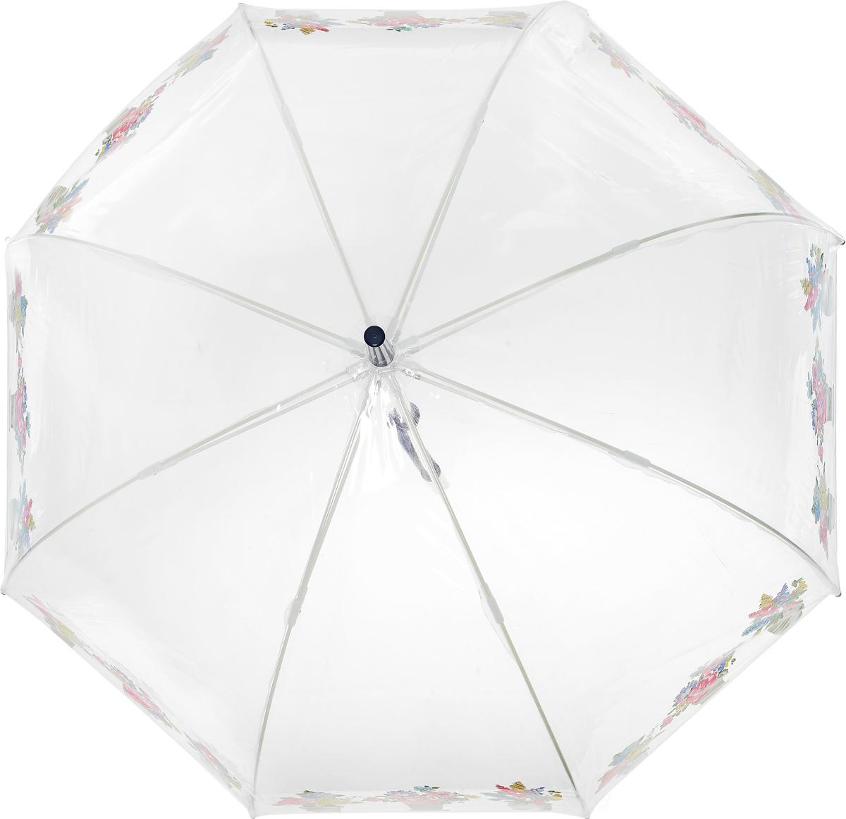 Зонт-трость женский Cath Kidston Birdcage, механический, цвет: прозрачный. L546-3145L546-3145 FlowerPotsНеобычный механический зонт-трость Cath Kidston Birdcage даже в ненастную погоду позволит вам оставаться модной и элегантной. Каркас зонта включает 8 спиц из фибергласса с пластиковыми наконечниками. Стержень изготовлен из стали. Купол зонта выполнен из высококачественного прозрачного ПВХ и по краю оформлен принтом в виде цветочных горшков. Изделие дополнено удобной пластиковой рукояткой. Зонт механического сложения: купол открывается и закрывается вручную до характерного щелчка. Модель дополнительно застегивается с помощью хлястика на кнопку. Такой зонт не только надежно защитит вас от дождя, но и станет стильным аксессуаром, который идеально подчеркнет ваш неповторимый образ.