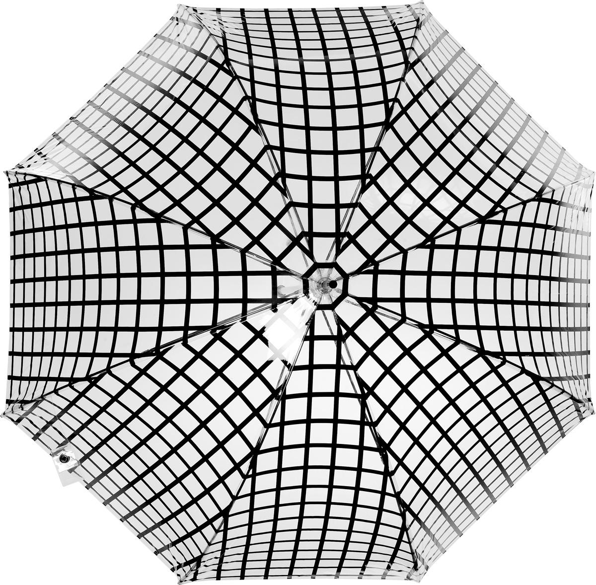 Зонт-трость женский Vogue, цвет: прозрачный, черный. 107V/1-6107V-1-6Стильный зонт-трость испанского производителя Vogue оснащен каркасом с противоветровым эффектом. Каркас зонта включает 8 спиц. Стержень изготовлен из стали, купол выполнен из прочного полиэстера. Зонт оснащен автоматическим механизмом: купол открывается нажатием на кнопку около ручки и закрывается с помощью нее же. Такой зонт не только надежно защитит вас от дождя, но и станет стильным аксессуаром, который идеально подчеркнет ваш неповторимый образ. Рекомендации по использованию: Мокрый зонт нельзя оставлять сложенным. Зонт после использования рекомендуется сушить в полураскрытом виде вдали от нагревательных приборов. Чистить зонт рекомендуется губкой, используя мягкие нещелочные растворы.