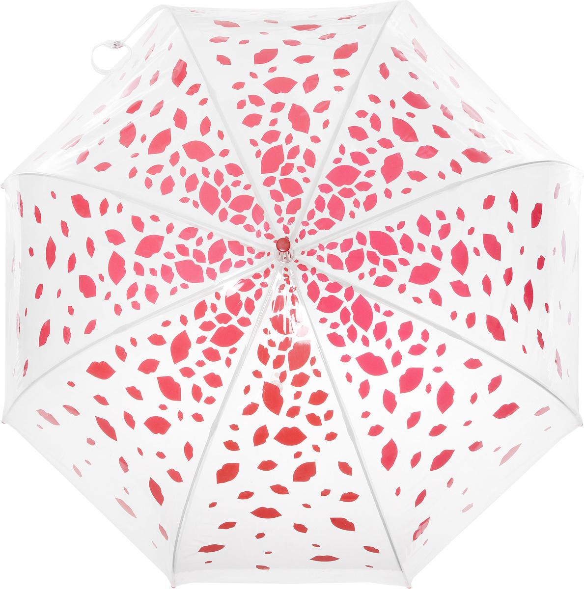 Зонт-трость женский Lulu Guinness Birdcage, механический, цвет: прозрачный, красный. L719-3177L719-3177 RainingLipsНеобычный механический зонт-трость Lulu Guinness Birdcage даже в ненастную погоду позволит вам оставаться модной и элегантной. Каркас зонта включает 8 спиц из фибергласса с пластиковыми наконечниками. Стержень изготовлен из стали. Купол зонта выполнен из высококачественного прозрачного ПВХ и оформлен принтом в виде губок. Изделие дополнено удобной прозрачной рукояткой из пластика с металлическим элементом в верхней части. Пластиковая часть наполнена жидкостью с яркими декоративными элементами в виде губок. Зонт механического сложения: купол открывается и закрывается вручную до характерного щелчка. Модель дополнительно застегивается с помощью хлястика на кнопку. Такой зонт не только надежно защитит вас от дождя, но и станет стильным аксессуаром, который идеально подчеркнет ваш неповторимый образ.
