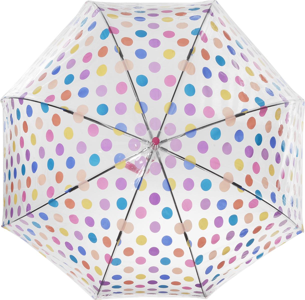 Зонт-трость женский Small Spots, механический, цвет: сиреневыйL042 3F2645Стильный куполообразный зонт-трость Small Spots, закрывающий голову и плечи, даже в ненастную погоду позволит вам оставаться элегантной. Каркас зонта выполнен из 8 спиц из фибергласса, стержень изготовлен из стали. Купол зонта выполнен из прозрачного ПВХ и оформлен принтом в горошек. Рукоятка закругленной формы разработана с учетом требований эргономики и изготовлена из пластика. Зонт имеет механический тип сложения: купол открывается и закрывается вручную до характерного щелчка. Такой зонт не только надежно защитит вас от дождя, но и станет стильным аксессуаром.