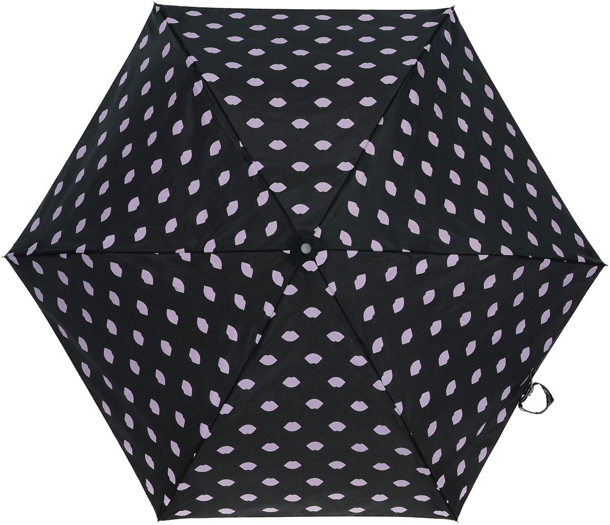 Зонт женский Lulu Guinness Superslim, механический, 3 сложения, цвет: черный, бледно-розовый. L718-2875L718-2875 LipsprintСтильный механический зонт Lulu Guinness Superslim в 3 сложения даже в ненастную погоду позволит вам оставаться элегантной. Облегченный каркас зонта выполнен из 6 спиц из фибергласса и алюминия, стержень также изготовлен из алюминия, удобная рукоятка - из пластика. Купол зонта выполнен из прочного полиэстера. В закрытом виде застегивается хлястиком на кнопке. Яркий оригинальный принт в виде изображения губ поднимет настроение в дождливый день. Зонт механического сложения: купол открывается и закрывается вручную до характерного щелчка. На рукоятке для удобства есть небольшой шнурок, позволяющий надеть зонт на руку тогда, когда это будет необходимо. К зонту прилагается чехол, который дополнительно застегивается на липучку, с небольшой нашивкой с названием бренда. Такой зонт компактно располагается в кармане, сумочке, дверке автомобиля.