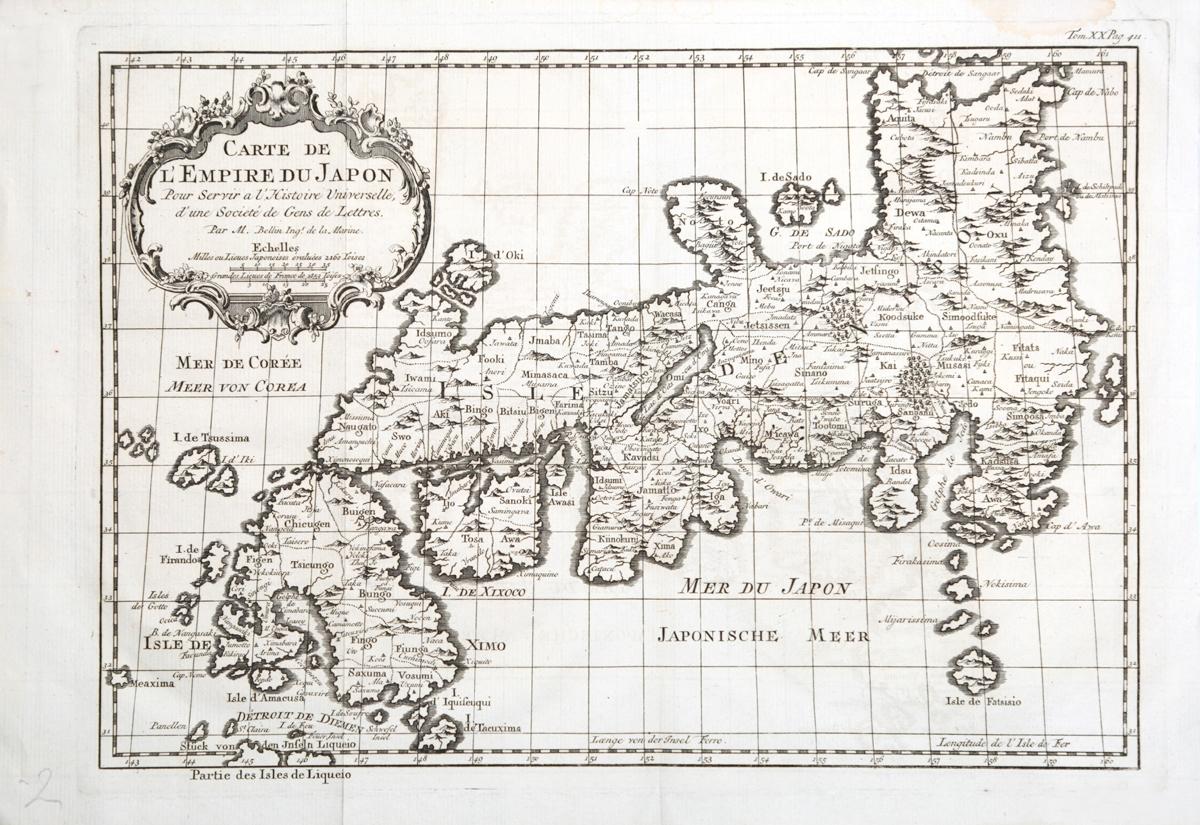 Географическая карта Японии (Carte de LEmpire du Japon). Гравюра. Западная Европа, середина XVIII века