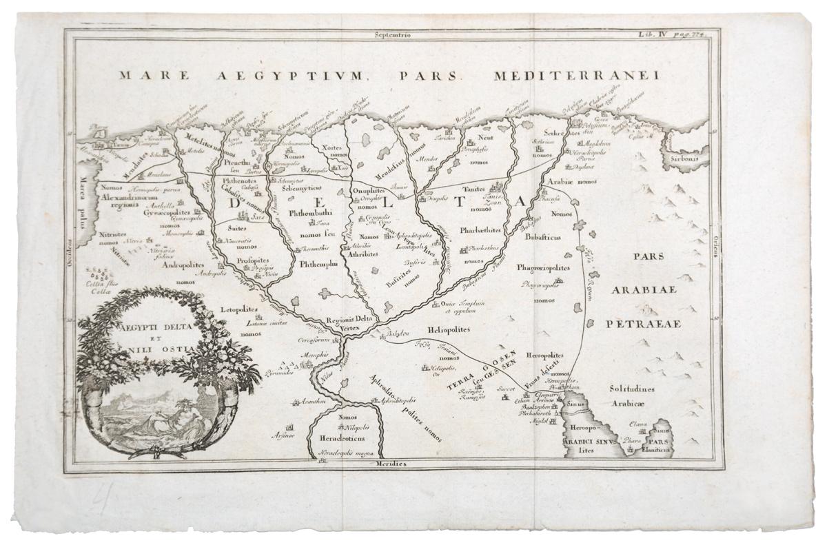 Географическая карта дельты Нила (Aegypti delta et Nili ostia). Гравюра. Западная Европа, вторая половина XVII века