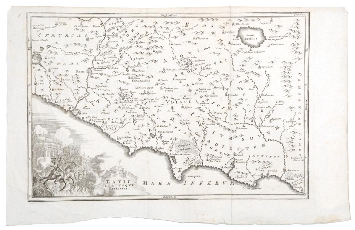 Географическая карта Лация (Latii Utriusque delineatio). Гравюра. Западная Европа, вторая половина XVII века