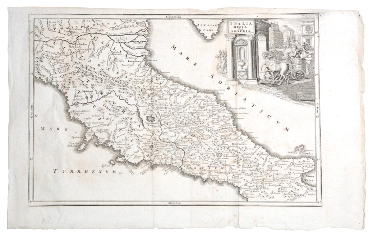 Географическая карта центральной Италии (Italia media sive propria). Гравюра. Западная Европа, вторая половина XVII века