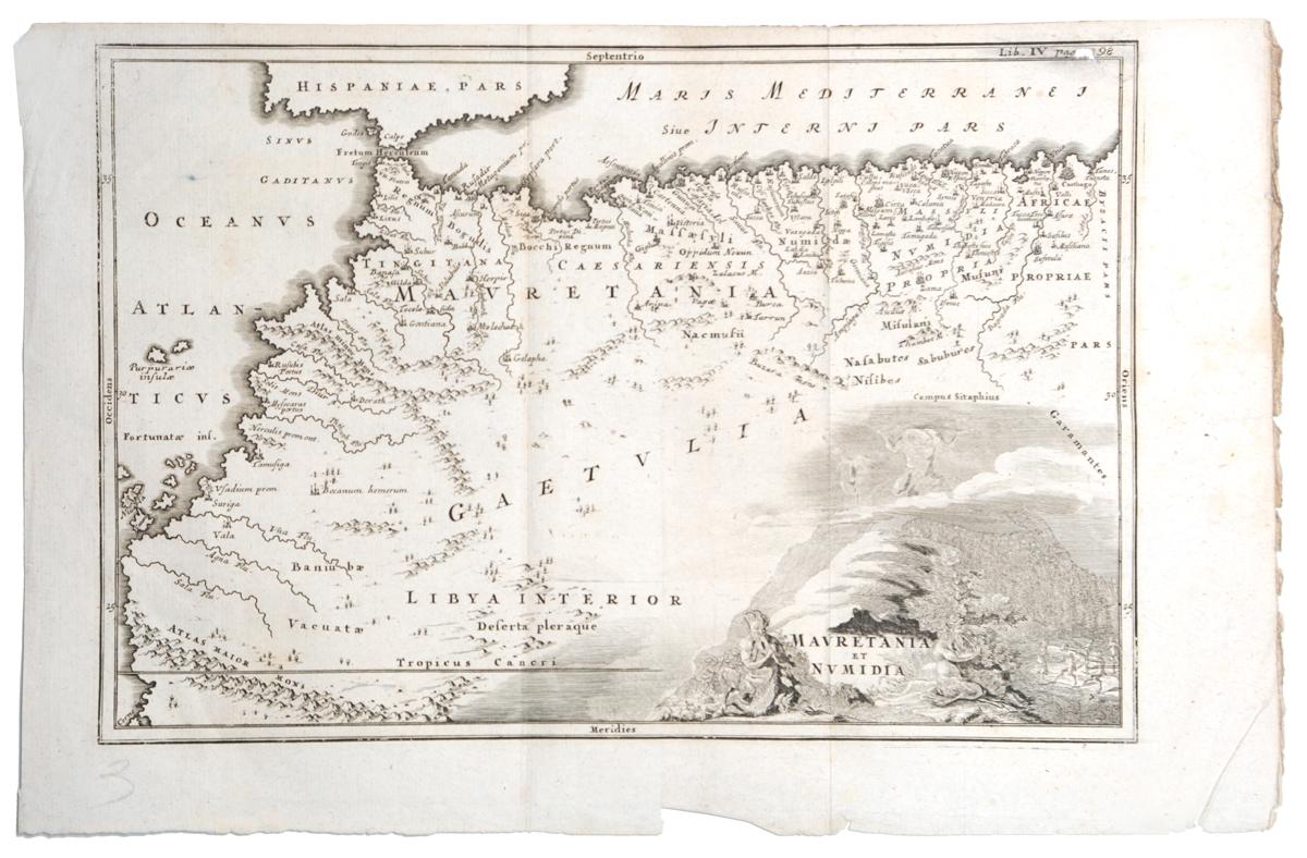 Географическая карта Мавритании и Нумидии (Mavretania et Numidia). Гравюра. Западная Европа, вторая половина XVII века