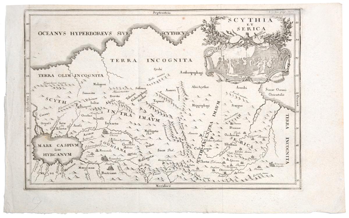 Географическая карта Скифии и Серики (Scythia et Serica). Гравюра. Западная Европа, вторая половина XVII века