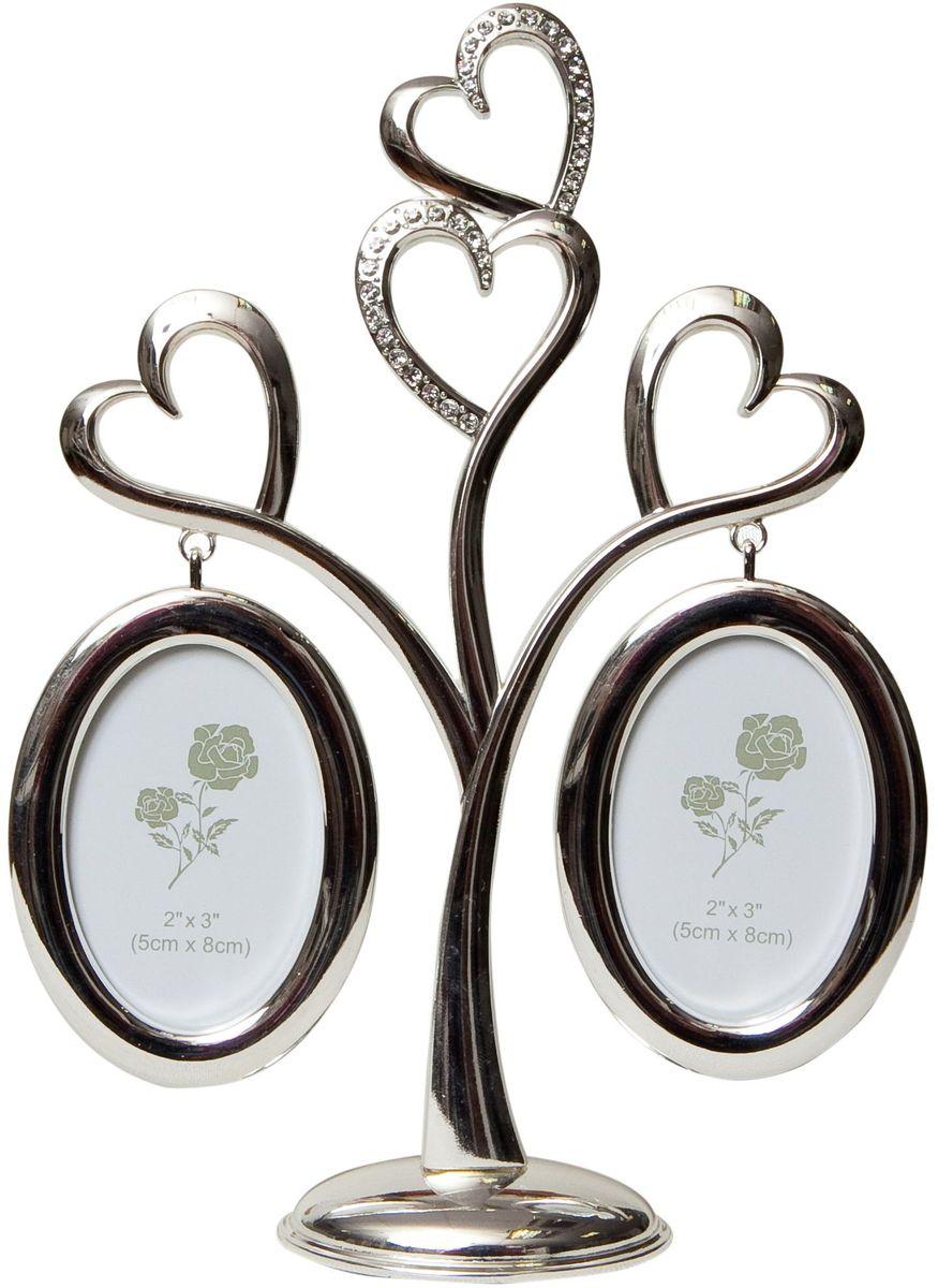 Фоторамка декоративная Platinum Дерево. Сердца, на 2 фото, высота 22 см. PF10019A2 фоторамки на дереве PF10019AРодословное дерево с тремя сердцами, с фото 8x8 см.
