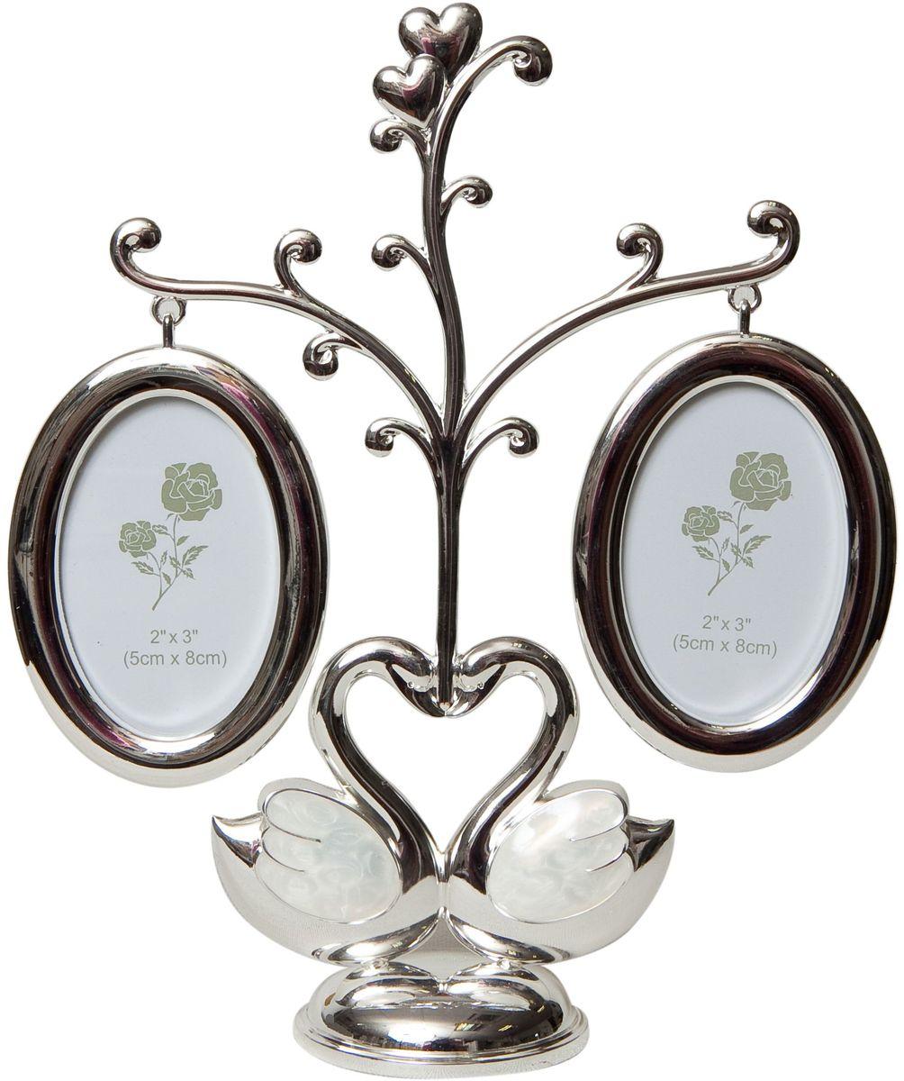 Фоторамка декоративная Platinum Дерево. Лебеди, на 2 фото, высота 21 см. PF100222 фоторамки на дереве PF10022Родословное дерево в виде двух лебедей, с фото 5x8 см.