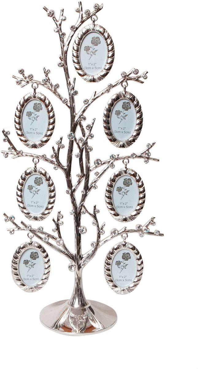 Фоторамка Platinum Дерево, цвет: светло-серый, на 7 фото, 3 x 5 см. PF103047 фоторамок на дереве PF10304Декоративная фоторамка Platinum Дерево выполнена из металла. На подставку в виде деревца подвешиваются семь овальных фоторамок. Фоторамка украшена стазами. Изысканная и эффектная, эта потрясающая рамочка покорит своей красотой и изумительным качеством исполнения. Фоторамка Platinum Дерево не только украсит интерьер помещения, но и поможет разместить фото всей вашей семьи. Высота фоторамки: 31 см. Фоторамка подходит для фотографий 3 x 5 см. Общий размер фоторамки: 16 х 5 х 31 см.