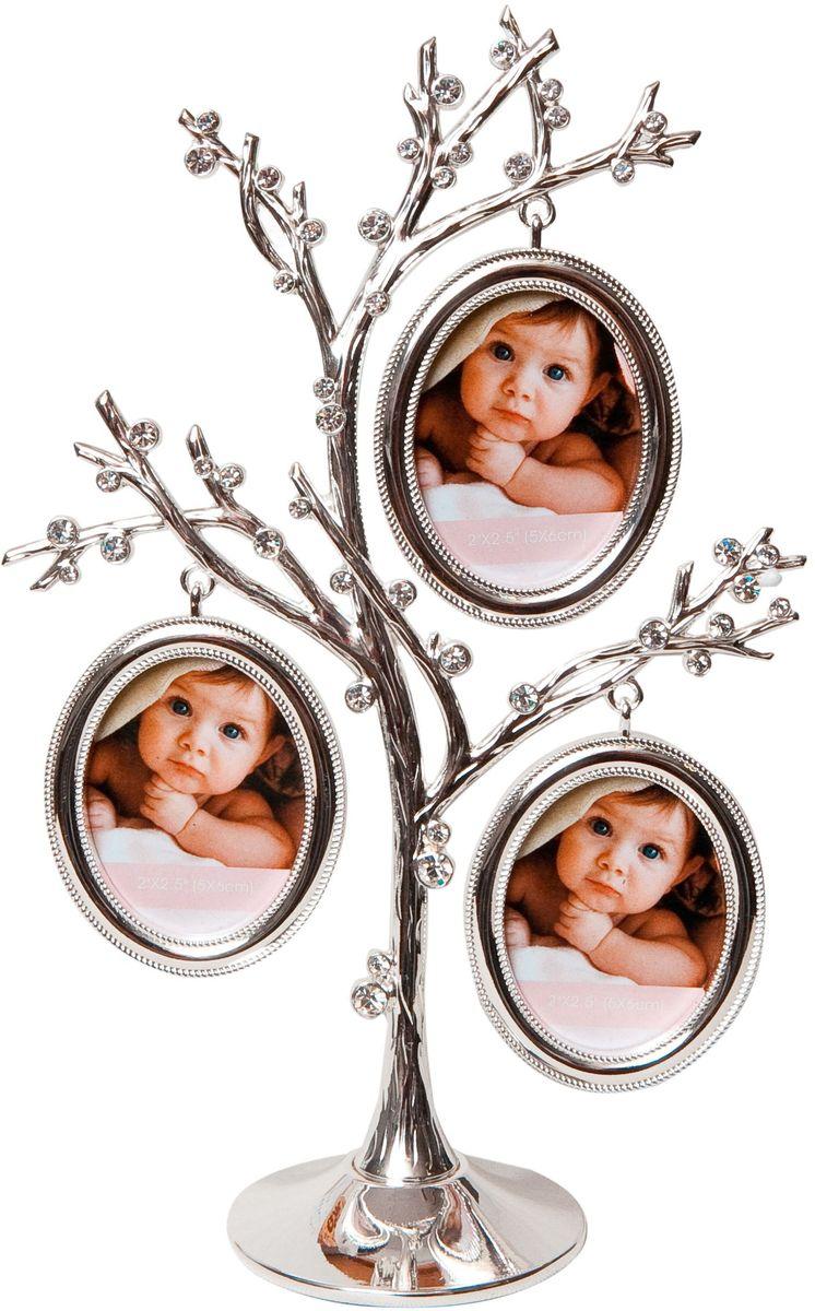 Фоторамка декоративная Platinum Дерево, на 3 фото, высота 22,5 см. PF103063 фоторамки на дереве PF10306Родословное дерево инкрустированное стразами, с фото 5x6 см.