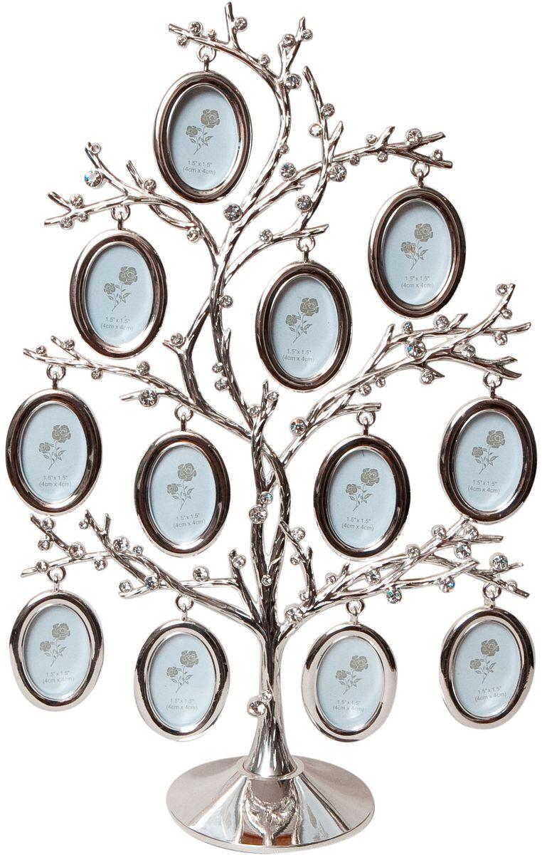 Фоторамка Platinum Дерево, цвет: светло-серый, на 12 фото, 3 x 4 см. PF1030712 фоторамок на дереве PF10307Декоративная фоторамка Platinum Дерево выполнена из металла и декорирована стразами. На подставку в виде деревца подвешиваются двенадцать овальных рамочек. Изысканная и эффектная, эта потрясающая рамочка покорит своей красотой и изумительным качеством исполнения. Декоративная фоторамка Platinum Дерево не только украсит интерьер помещения, но и поможет разместить фото всей вашей семьи. Высота фоторамки: 30 см. Фоторамка подходит для фотографий 3 x 4 см. Общий размер фоторамки: 21 х 6 х 30 см.