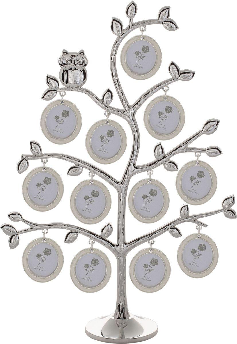 Фоторамка декоративная Platinum Дерево, на 12 фото, высота 36 см. PF1072612 фоторамок на дереве PF10726Родословное дерево инкрустированное стразами, с фото 4x5 см.
