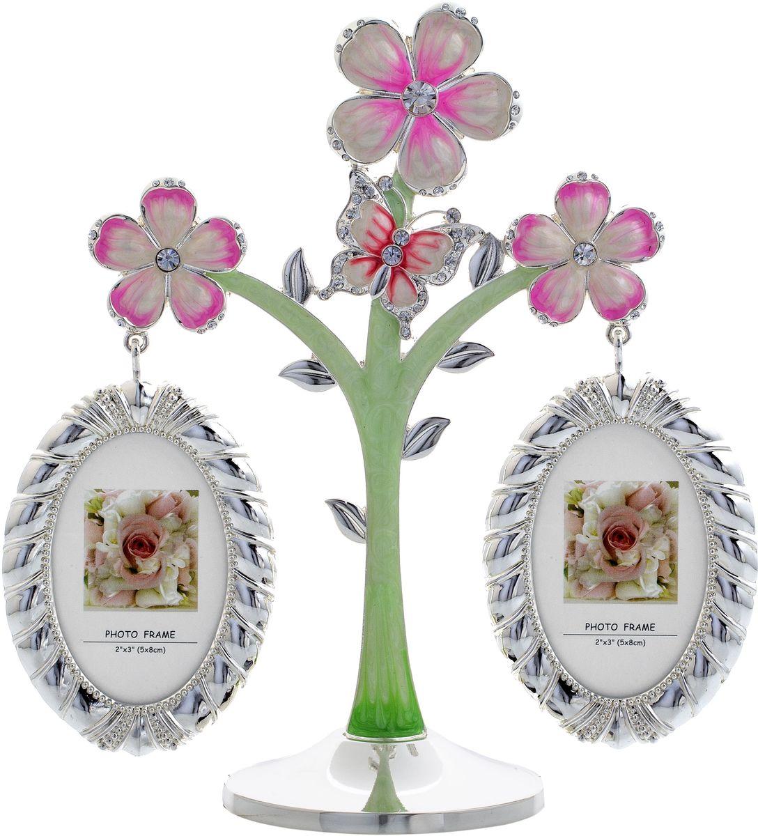 Фоторамка декоративная Platinum Дерево. Цветы и бабочки, на 2 фото, высота 20 см. PF111862 фоторамки на дереве PF11186Родословное дерево с цветами и бабочкой с фото 5x8 см.
