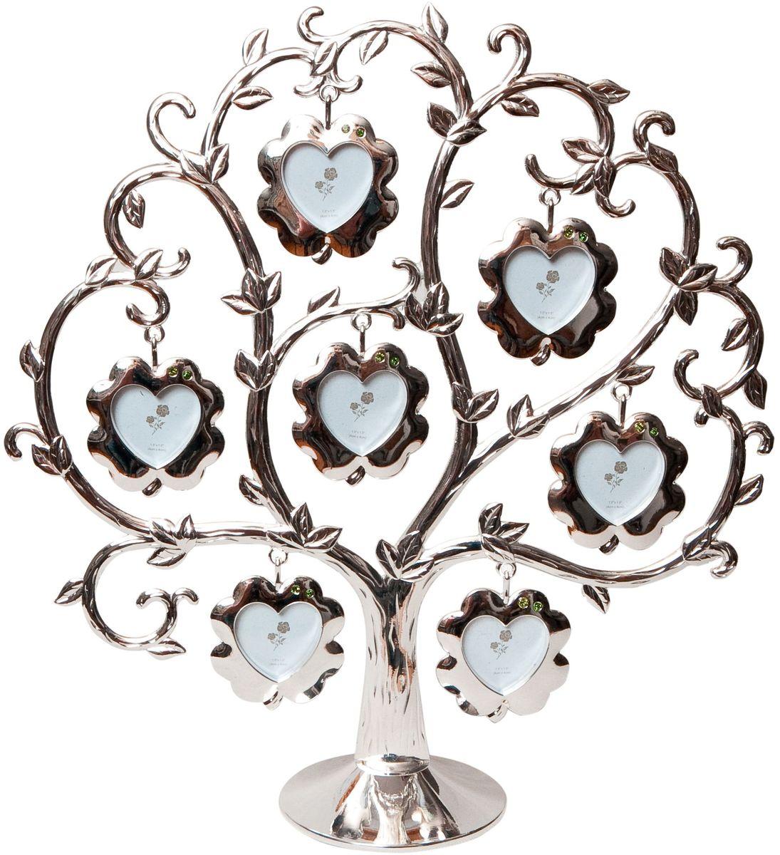 Фоторамка Platinum Дерево, цвет: светло-серый, на 7 фото, 4 x 4 см. PF9460BS7 фоторамок на дереве PF9460BSДекоративная фоторамка Platinum Дерево выполнена из металла. На подставку в виде деревца подвешиваются семь рамочек в форме цветочков, украшенных стразами. Изысканная и эффектная, эта потрясающая рамочка покорит своей красотой и изумительным качеством исполнения. Фоторамка Platinum Дерево не только украсит интерьер помещения, но и поможет разместить фото всей вашей семьи. Высота фоторамки: 25 см. Фоторамка подходит для фотографий 4 х 4 см. Общий размер фоторамки: 24 х 5 х 25 см.