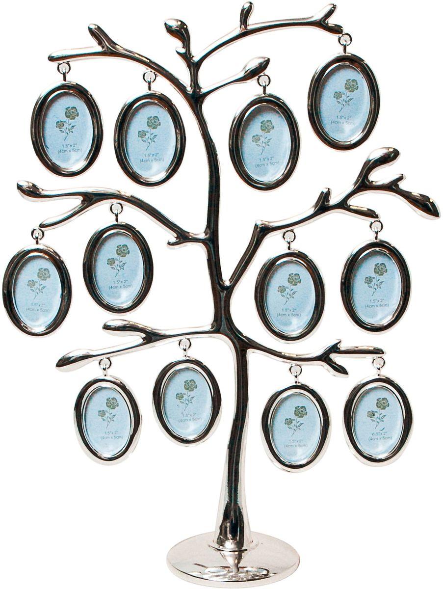 Фоторамка Platinum Дерево, цвет: светло-серый, на 12 фото, 3 x 4 см. PF9476C12 фоторамок на дереве PF9476CДекоративная фоторамка Platinum Дерево выполнена из металла. На подставку в виде деревца подвешиваются двенадцать овальных рамочек. Изысканная и эффектная, эта потрясающая рамочка покорит своей красотой и изумительным качеством исполнения. Фоторамка Platinum Дерево не только украсит интерьер помещения, но и поможет разместить фото всей вашей семьи. Высота фоторамки: 28 см. Фоторамка подходит для фотографий 3 x 4 см. Общий размер фоторамки: 23 х 4,5 х 28 см.