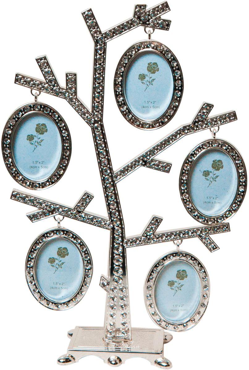 Фоторамка декоративная Platinum Дерево, на 5 фото, высота 24 см. PF96345 фоторамок на дереве PF9634Родословное дерево инкрустированное стразами, с фото 4x5 см.