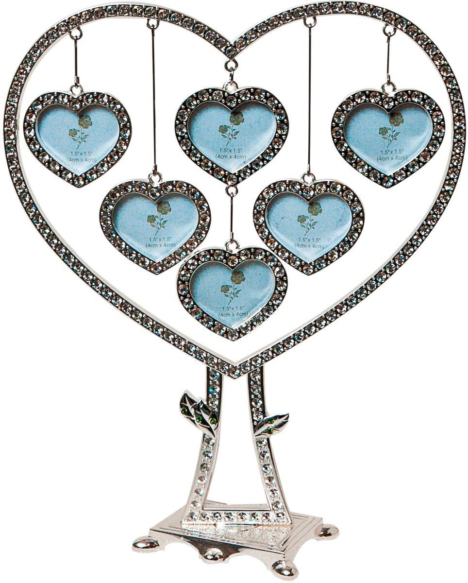 Фоторамка декоративная Platinum Дерево. Сердца, на 6 фото, высота 19,5 см. PF9705N6 фоторамок на дереве PF9705NРодословное деревов в виде сердца, инкрустированное стразами, с фото 3x4 см.