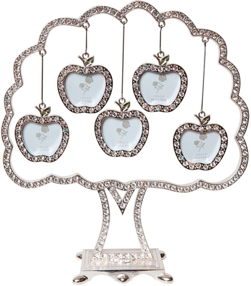 Фоторамка Platinum Дерево, цвет: светло-серый, на 5 фото, 5 x 6 см. PF9707B5 фоторамок на дереве PF9707BДекоративная фоторамка Platinum Дерево выполнена из металла и декорирована стразами. На подставку в виде деревца подвешиваются пять фоторамок в форме яблок. Изысканная и эффектная, эта потрясающая рамочка покорит своей красотой и изумительным качеством исполнения. Декоративная фоторамка Platinum Дерево не только украсит интерьер помещения, но и поможет разместить фото всей вашей семьи. Высота фоторамки: 19,5 см. Фоторамка подходит для фотографий 5 x 6 см. Общий размер фоторамки: 18,5 х 4,5 х 19,5 см.