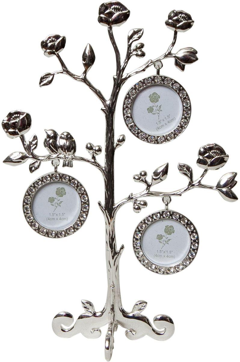 Фоторамка декоративная Platinum Дерево. Розы, на 3 фото, высота 23 см. PF9748B3 фоторамки на дереве PF9748BРодословное дерево, три фоторамки на ветках с розами 4x4 см.
