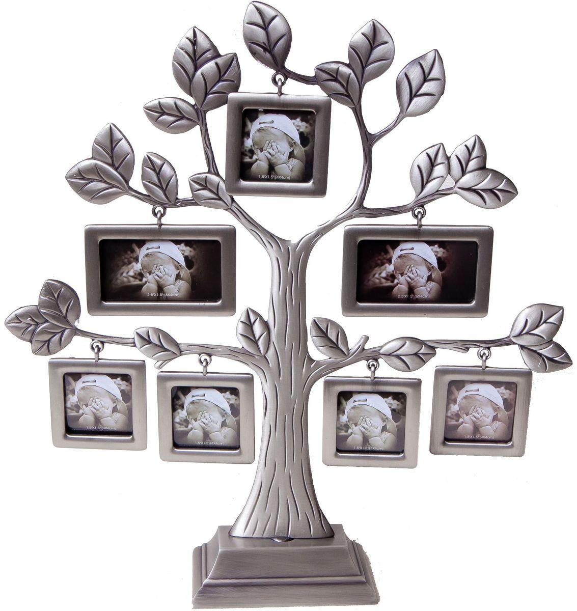 Фоторамка Platinum Дерево, цвет: светло-серый, на 7 фото. PF97727 фоторамок на дереве PF9772Декоративная фоторамка Platinum Дерево выполнена из металла. На подставку в виде деревца подвешиваются семь рамочек разной формы. Изысканная и эффектная, эта потрясающая рамочка покорит своей красотой и изумительным качеством исполнения. Фоторамка Platinum Дерево не только украсит интерьер помещения, но и поможет разместить фото всей вашей семьи. Высота фоторамки: 25 см. Фоторамка подходит для фотографий 4 х 4 см и 6 x 4 см. Общий размер фоторамки: 24 х 4,5 х 25 см.