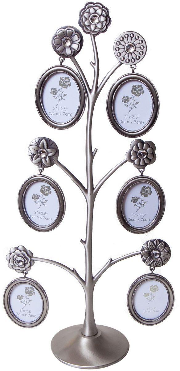 Фоторамка декоративная Platinum Дерево, на 6 фото, высота 40,3 см. PF99296 фоторамок на дереве PF9929Родословное деревоинкрустированное стразами, с фото 5x7 см.