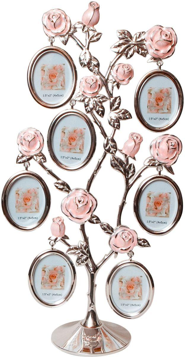 Фоторамка Platinum Дерево. Розы, цвет: светло-серый, на 7 фото 4 x 5 см. PF9930A7 фоторамок на дереве PF9930AДекоративная фоторамка Platinum Дерево. Розы выполнена из металла. На подставку в виде деревца розы подвешиваются восемь овальных рамочек. Изысканная и эффектная, эта потрясающая рамочка покорит своей красотой и изумительным качеством исполнения. Декоративная фоторамка Platinum Дерево. Розы не только украсит интерьер помещения, но и поможет разместить фото всей вашей семьи. Высота фоторамки: 33,5 см. Фоторамка подходит для фотографий 4 х 5 см. Общий размер фоторамки: 17 х 5 х 33,5 см.