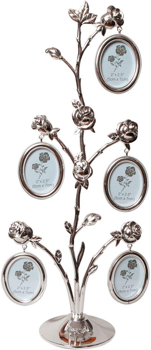 Фоторамка Platinum Дерево. Розы, цвет: светло-серый, на 5 фото, 5 x 6 см. PF9931B5 фоторамок на дереве PF9931BДекоративная фоторамка Platinum Дерево. Розы выполнена из металла. На ветках с розами подвешиваются пять овальных рамочек. Изысканная и эффектная, эта потрясающая рамочка покорит своей красотой и изумительным качеством исполнения. Декоративная фоторамка Platinum Дерево. Розы не только украсит интерьер помещения, но и поможет разместить фото всей вашей семьи. Высота фоторамки: 40 см. Фоторамка подходит для фотографий 5 x 6 см. Общий размер фоторамки: 18 х 4 х 40 см.