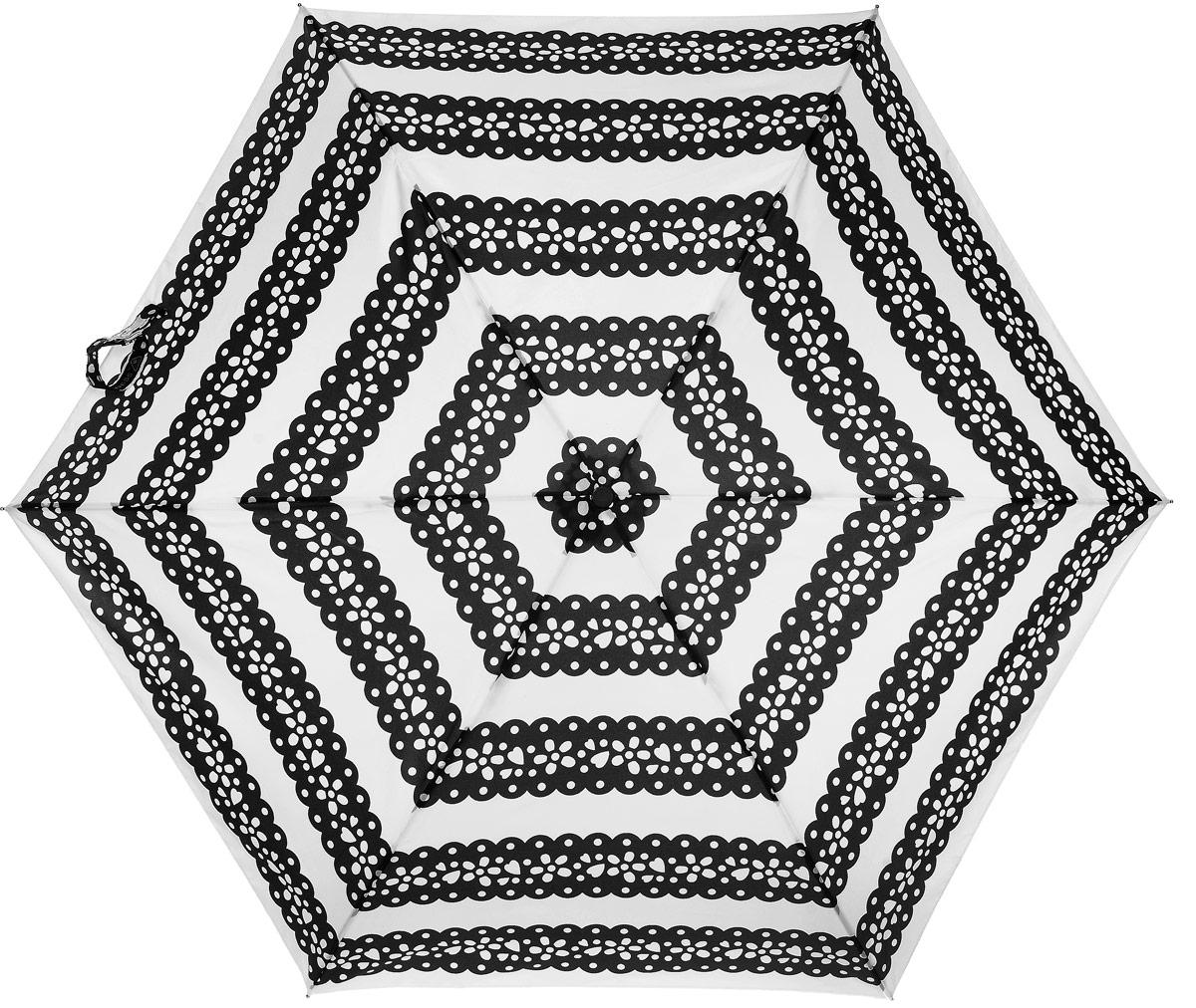 Зонт женский Lulu Guinness Superslim, механический, 3 сложения, цвет: черный, белый. L718-2959L718-2959 MexicanCutOutСтильный механический зонт Lulu Guinness Superslim в 3 сложения даже в ненастную погоду позволит вам оставаться элегантной. Каркас зонта выполнен из 6 спиц из фибергласса и алюминия, стержень также изготовлен из алюминия, удобная рукоятка - из пластика. Купол зонта выполнен из прочного полиэстера. В закрытом виде застегивается хлястиком на кнопке. Яркий оригинальный орнамент поднимет настроение в дождливый день. Зонт механического сложения: купол открывается и закрывается вручную до характерного щелчка. На рукоятке для удобства есть небольшой шнурок, позволяющий надеть зонт на руку тогда, когда это будет необходимо. К зонту прилагается чехол, который оформлен нашивкой с названием бренда. Такой зонт компактно располагается в кармане, сумочке, дверке автомобиля.