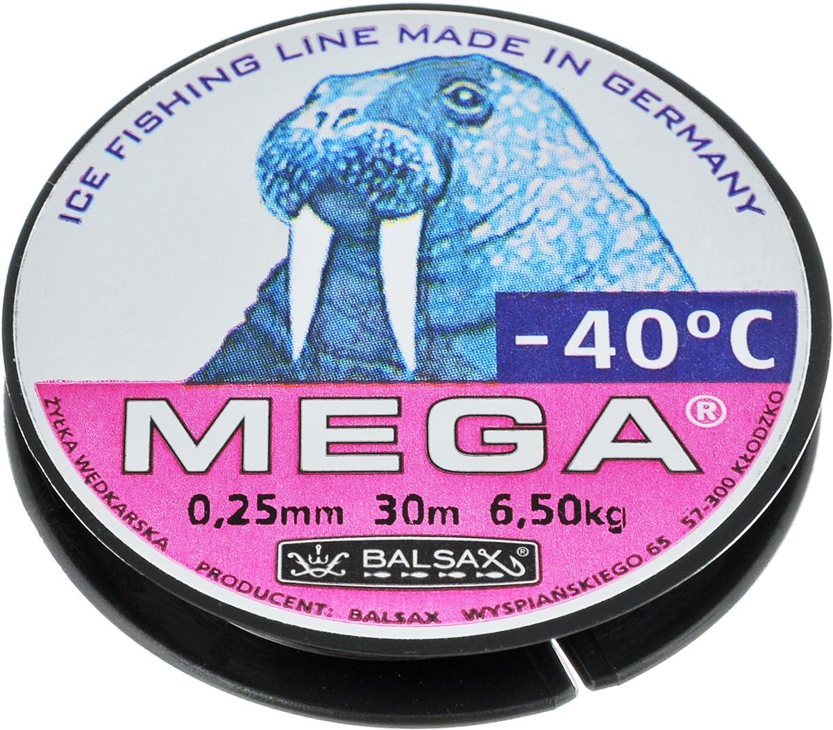 Леска зимняя Balsax Mega, 30 м, 0,25 мм, 6,5 кг310-11025Леска Balsax Mega изготовлена из 100% нейлона и очень хорошо выдерживает низкие температуры. Даже в самом холодном климате, при температуре вплоть до -40°C, она сохраняет свои свойства практически без изменений, в то время как традиционные лески становятся менее эластичными и теряют прочность. Поверхность лески обработана таким образом, что она не обмерзает и отлично подходит для подледного лова. Прочна в местах вязки узлов даже при минимальном диаметре.