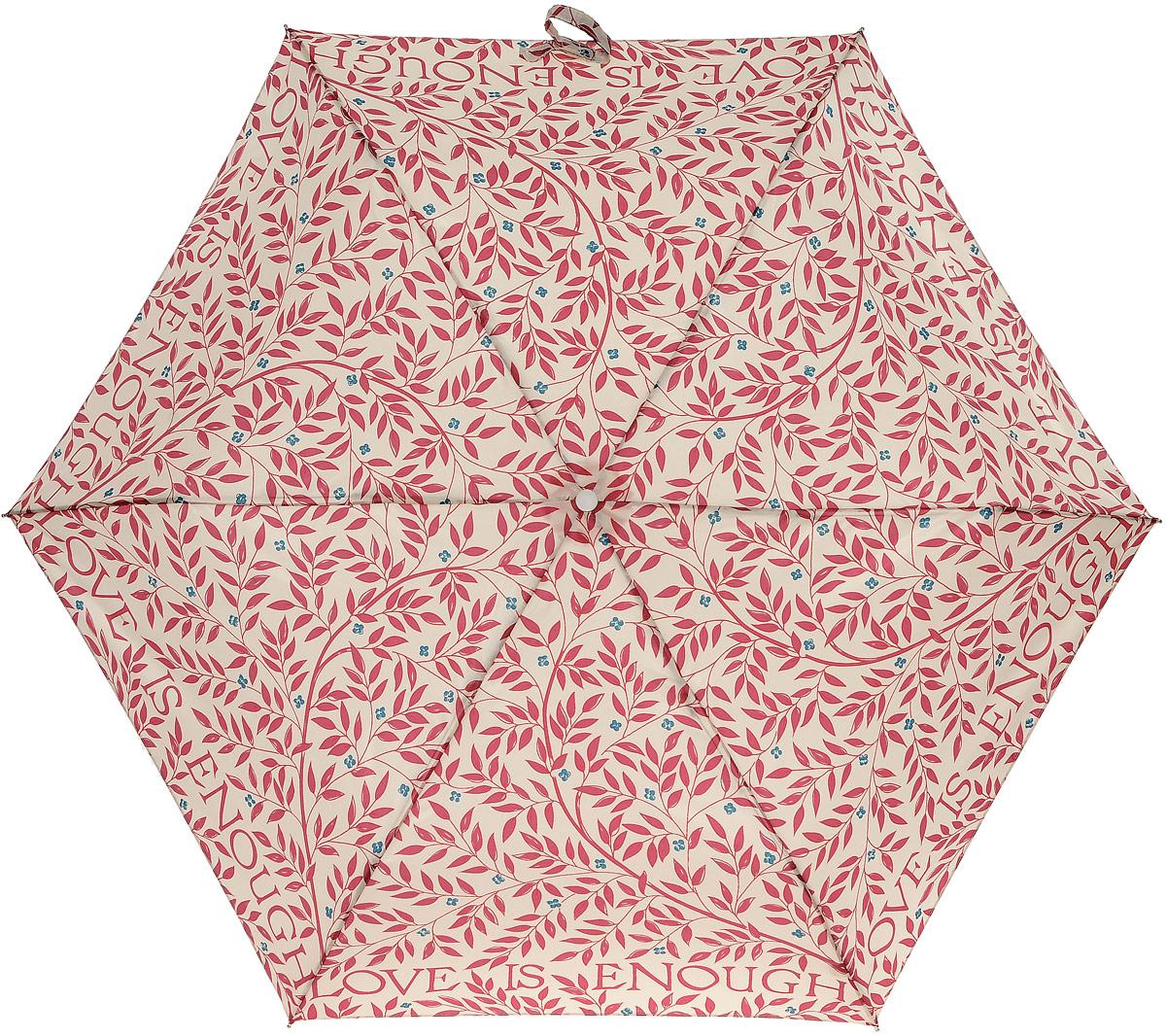 Зонт женский Morris & Co Superslim, механический, 3 сложения, цвет: бежевый, бордовый, синий. L714-2796L714-2796 LoveisEnoughСтильный механический зонт Morris & Co Superslim в 3 сложения даже в ненастную погоду позволит вам оставаться элегантной. Облегченный каркас зонта выполнен из 6 спиц из фибергласса и алюминия, стержень также изготовлен из алюминия, удобная рукоятка - из дерева. Купол зонта выполнен из прочного полиэстера. В закрытом виде застегивается хлястиком на липучке. Яркий оригинальный принт в виде изображения листьев и цветов поднимет настроение в дождливый день. Зонт механического сложения: купол открывается и закрывается вручную до характерного щелчка. На рукоятке для удобства есть небольшой шнурок, позволяющий надеть зонт на руку тогда, когда это будет необходимо. К зонту прилагается чехол, который дополнительно застегивается на липучку. Чехол оформлен небольшой нашивкой с названием бренда. Такой зонт компактно располагается в кармане, сумочке, дверке автомобиля.