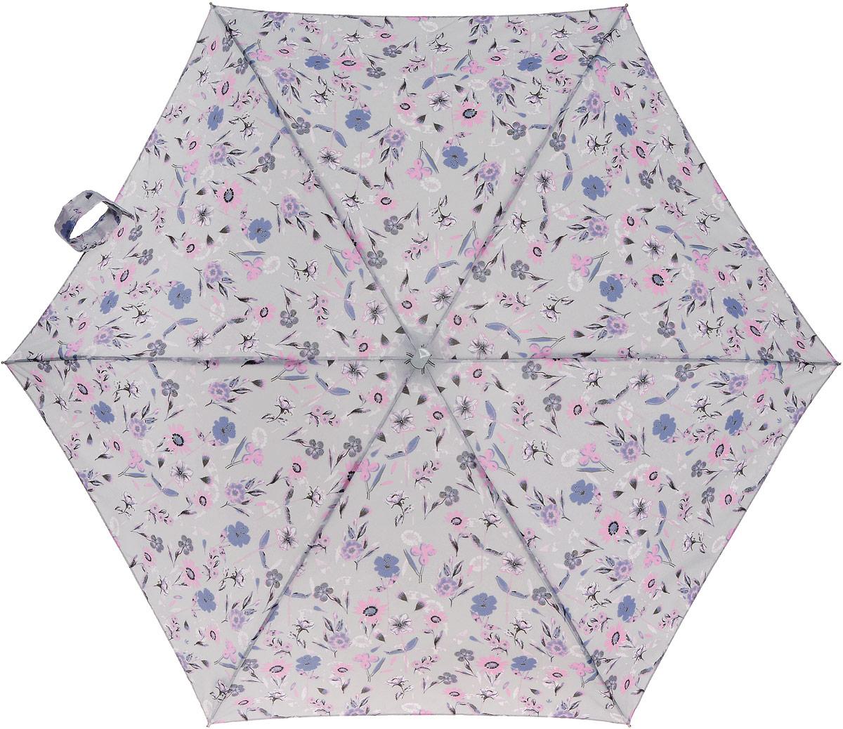 Зонт женский Fulton Tiny, механический, 5 сложений, цвет: светло-серый, мультиколор. L501-2814L501-2814 PaperFlowersСтильный механический зонт Fulton Tiny в 5 сложений даже в ненастную погоду позволит вам оставаться элегантной. Каркас зонта выполнен из 6 спиц из фибергласса и алюминия, стержень также изготовлен из алюминия, удобная рукоятка - из каучука. Купол зонта выполнен из прочного полиэстера. В закрытом виде застегивается хлястиком на липучке. Яркий оригинальный цветочный рисунок поднимет настроение в дождливый день. Зонт механического сложения: купол открывается и закрывается вручную до характерного щелчка. На рукоятке для удобства есть небольшой шнурок, позволяющий надеть зонт на руку тогда, когда это будет необходимо. К зонту прилагается чехол с дополнительной впитывающей подкладкой, что защитит одежду и сумку от влаги. Чехол дополнен небольшой металлической деталью с названием бренда. Такой зонт компактно располагается в кармане, сумочке, дверке автомобиля.