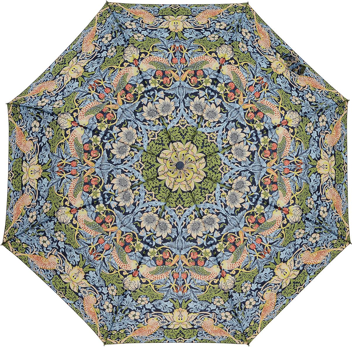 Зонт женский Morris & Co Minilite, механический, 3 сложения, цвет: мультиколор. L757-2333L757-2333 StrawberryThiefСтильный механический зонт Morris & Co Minilite в 3 сложения даже в ненастную погоду позволит вам оставаться элегантной. Облегченный каркас зонта выполнен из 8 спиц из фибергласса и алюминия, стержень также изготовлен из алюминия, удобная рукоятка - из дерева. Купол зонта выполнен из прочного полиэстера и оформлен оригинальным красочным принтом. В закрытом виде застегивается хлястиком на липучку. Зонт механического сложения: купол открывается и закрывается вручную до характерного щелчка. На рукоятке для удобства есть небольшой шнурок, позволяющий при необходимости надеть зонт на руку. К зонту прилагается чехол. Такой зонт компактно располагается в глубоком кармане, сумочке, дверке автомобиля.