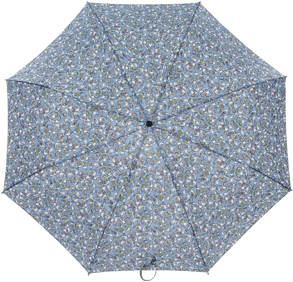 Зонт женский Labbra, автомат, 3 сложения, цвет: голубой, белый, серый. A3-05-LT022A3-05-LT022Элегантный женский зонт Labbra не даст вам промокнуть. Купол зонта выполнен из качественного полиэстера с водоотталкивающей пропиткой и оформлен принтом с изображением птиц. Прочный каркас выполнен из стали, алюминия и фибергласса. Зонт дополнен удобной пластиковой ручкой, которая имеет эластичную петлю, благодаря которой зонт можно носить на запястье. Изделие имеет автоматический механизм сложения: купол открывается и закрывается нажатием кнопки на ручке, стержень складывается вручную до характерного щелчка, благодаря чему открыть и закрыть зонт можно одной рукой. В сложенном виде зонт фиксируется с помощью хлястика с липучкой. К зонту прилагается чехол. Стильный и практичный аксессуар даже в ненастную погоду позволит вам оставаться неотразимой.