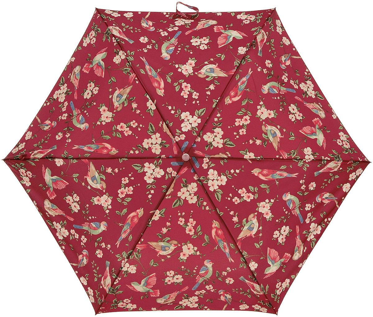Зонт женский Cath Kidston Minilite, механический, 3 сложения, цвет: темно-красный, мультиколор. L768-3065L768-3065 BritishBirdsBerryСтильный механический зонт Cath Kidston Minilite в 3 сложения даже в ненастную погоду позволит вам оставаться элегантной. Облегченный каркас зонта выполнен из 8 спиц из фибергласса и алюминия, стержень также изготовлен из алюминия, удобная рукоятка - из пластика. Купол зонта выполнен из прочного полиэстера. В закрытом виде застегивается хлястиком на липучке. Яркий оригинальный принт в виде изображения цветов и птиц поднимет настроение в дождливый день. Зонт механического сложения: купол открывается и закрывается вручную до характерного щелчка. На рукоятке для удобства есть небольшой шнурок, позволяющий надеть зонт на руку тогда, когда это будет необходимо. К зонту прилагается чехол с небольшой нашивкой с названием бренда. Oaeie зонт компактно располагается в кармане, сумочке, дверке автомобиля.