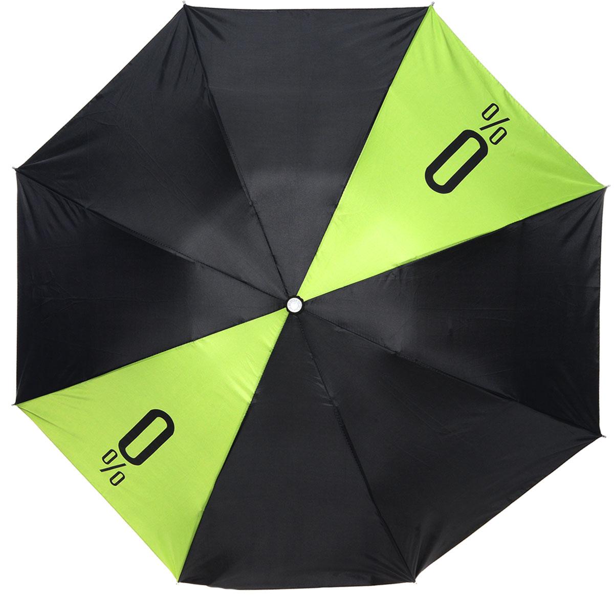 Зонт Эврика, механика, 2 сложения, цвет: зеленый, черный. 9012990129Оригинальный зонт Эврика надежно защитит вас от дождя. Купол, оформленный оригинальным принтом, выполнен из высококачественного ПВХ, который не пропускает воду. Каркас зонта, выполненный из прочного металла, состоит из восьми спиц. Зонт имеет механический тип сложения: открывается и закрывается вручную до характерного щелчка. Удобная ручка выполнена из пластика. Футляр из пластика выполнен в виде бутылки.