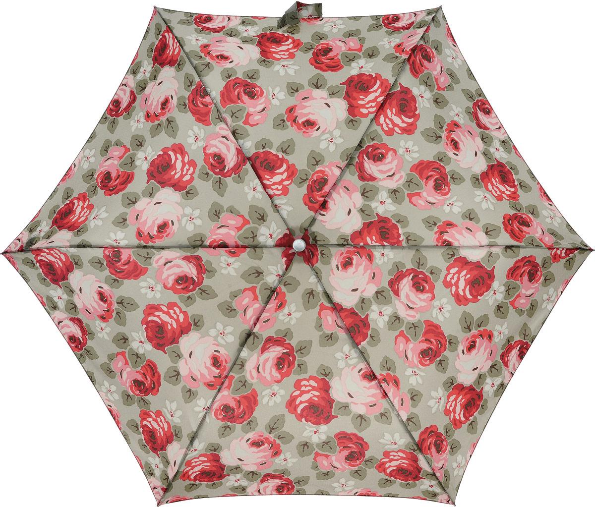 Зонт женский Cath Kidston Minilite, механический, 3 сложения, цвет: бежевый, мультиколор. L768-2743L768-2743 AubreyRoseStoneСтильный механический зонт Cath Kidston Minilite в 3 сложения даже в ненастную погоду позволит вам оставаться элегантной. Облегченный каркас зонта выполнен из 8 спиц из фибергласса и алюминия, стержень также изготовлен из алюминия, удобная рукоятка - из пластика. Купол зонта выполнен из прочного полиэстера. В закрытом виде застегивается хлястиком на липучке. Яркий оригинальный цветочный принт поднимет настроение в дождливый день. Зонт механического сложения: купол открывается и закрывается вручную до характерного щелчка. На рукоятке для удобства есть небольшой шнурок, позволяющий надеть зонт на руку тогда, когда это будет необходимо. К зонту прилагается чехол с небольшой нашивкой с названием бренда. Такой зонт компактно располагается в кармане, сумочке, дверке автомобиля.