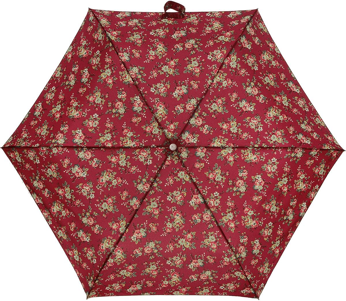 Зонт женский Cath Kidston Minilite, механический, 3 сложения, цвет: бордовый, мультиколор. L768-2852L768-2852 KingswoodRoseRedСтильный механический зонт Cath Kidston Minilite в 3 сложения даже в ненастную погоду позволит вам оставаться элегантной. Облегченный каркас зонта выполнен из 8 спиц из фибергласса и алюминия, стержень также изготовлен из алюминия, удобная рукоятка - из пластика. Купол зонта выполнен из прочного полиэстера. В закрытом виде застегивается хлястиком на липучке. Яркий оригинальный цветочный принт поднимет настроение в дождливый день. Зонт механического сложения: купол открывается и закрывается вручную до характерного щелчка. На рукоятке для удобства есть небольшой шнурок, позволяющий надеть зонт на руку тогда, когда это будет необходимо. К зонту прилагается чехол с небольшой нашивкой с названием бренда. Oaeie зонт компактно располагается в кармане, сумочке, дверке автомобиля.
