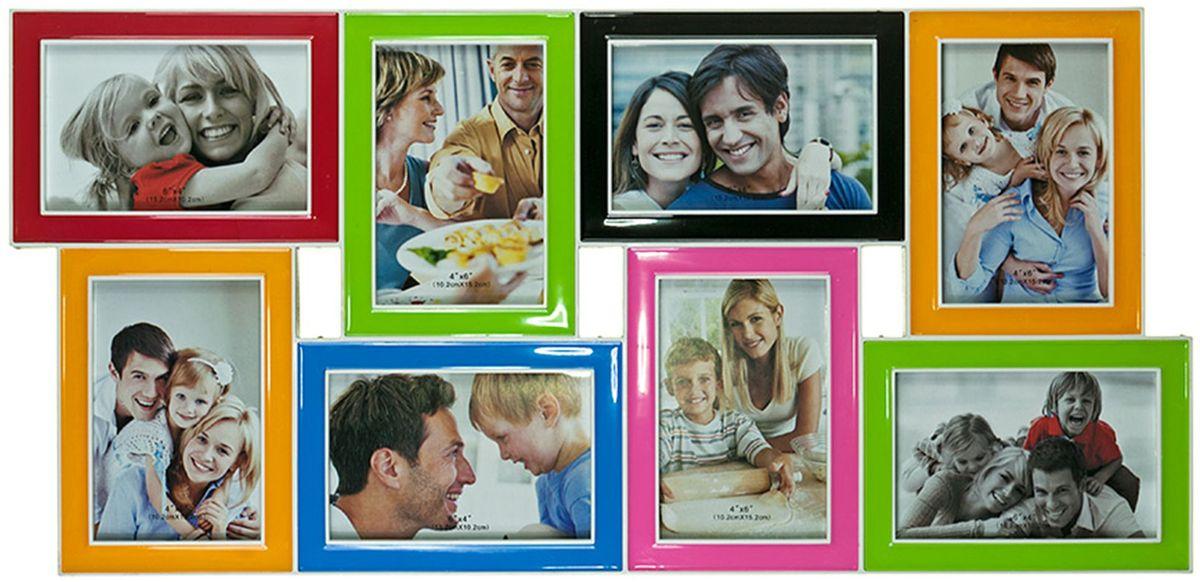 Фоторамка Platinum, цвет: мультиколор, на 8 фото 10 х 15 см. BIN-1122650BIN-1122650-Color-Колор миксФоторамка Platinum - прекрасный способ красиво оформить ваши фотографии. Фоторамка выполнена из пластика и защищена стеклом. Фоторамка-коллаж представляет собой восемь фоторамок для фото одного размера оригинально соединенных между собой. Такая фоторамка поможет сохранить в памяти самые яркие моменты вашей жизни, а стильный дизайн сделает ее прекрасным дополнением интерьера комнаты. Фоторамка подходит для фотографий 10 х 15 см. Общий размер фоторамки: 63 х 30 см.