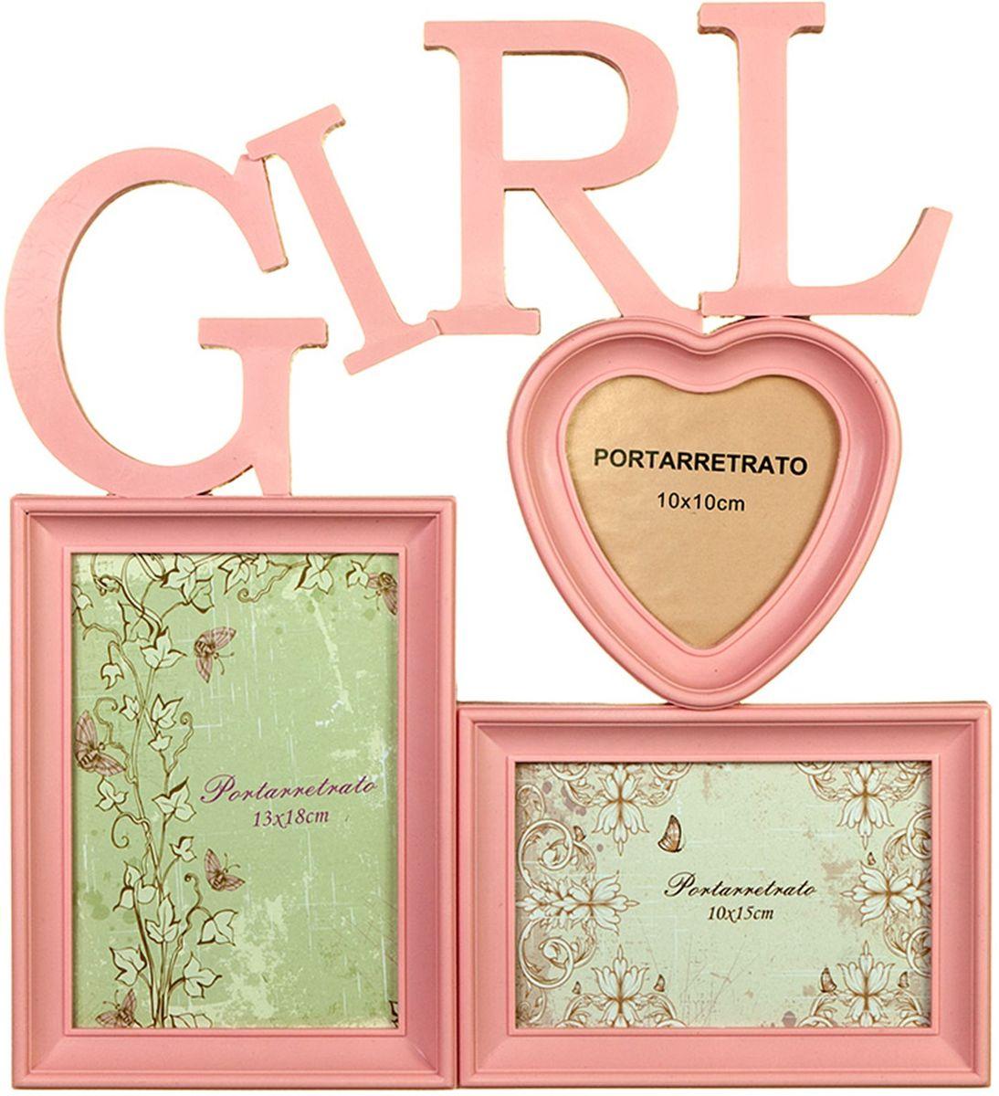 Коллаж Platinum Girl, цвет: розовый, 3 фоторамки. BIN-1122915BIN-1122915-Pink-РозовыйПластиковый коллаж с 1 фото 13х18, 1 фото 10х15 см, 1 фото 10х10 см.