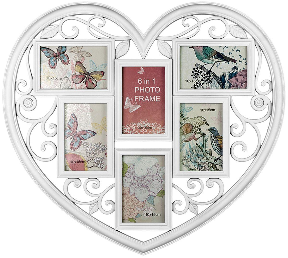Коллаж Platinum Сердце, цвет: белый, 6 фоторамок. BIN-1123026BIN-1123026-White-БелыйПластиковый коллаж с 6 фото 10х15 см.