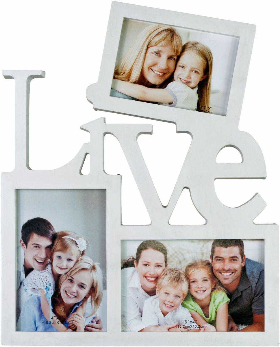 Фоторамка Platinum Live, цвет: белый, на 3 фото. BIN-1123095BIN-1123095-White-БелыйФоторамка Platinum Live - прекрасный способ красиво оформить ваши фотографии. Фоторамка выполнена из пластика и защищена стеклом. Фоторамка-коллаж представляет собой три фоторамки для фото разного размера оригинально соединенных между собой. Такая фоторамка поможет сохранить в памяти самые яркие моменты вашей жизни, а стильный дизайн сделает ее прекрасным дополнением интерьера комнаты. Фоторамка подходит для 2 фото 10 х 15 см и 1 фото 9 х 13 см. Общий размер фоторамки: 27 х 24 см.