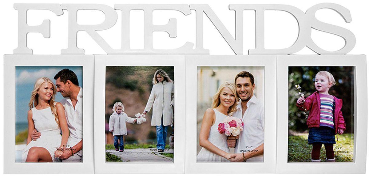 Коллаж Platinum Frends, цвет: белый, 4 фоторамки. BIN-1123214BIN-1123214-White-БелыйПластиковый коллаж с 4 фото 13х18 см.