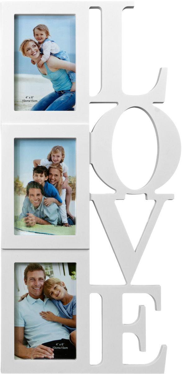 Фоторамка Platinum Love, цвет: белый, на 3 фото 10 х 15 смBIN-1123347-White-БелыйФоторамка Platinum Love - прекрасный способ красиво оформить ваши фотографии. Фоторамка выполнена из пластика и защищена стеклом. Фоторамка-коллаж представляет собой три фоторамки для фото разного размера оригинально соединенных между собой. Такая фоторамка поможет сохранить в памяти самые яркие моменты вашей жизни, а стильный дизайн сделает ее прекрасным дополнением интерьера комнаты. Фоторамка подходит для фотографий 10 х 15 см. Общий размер фоторамки: 26 х 54 см.