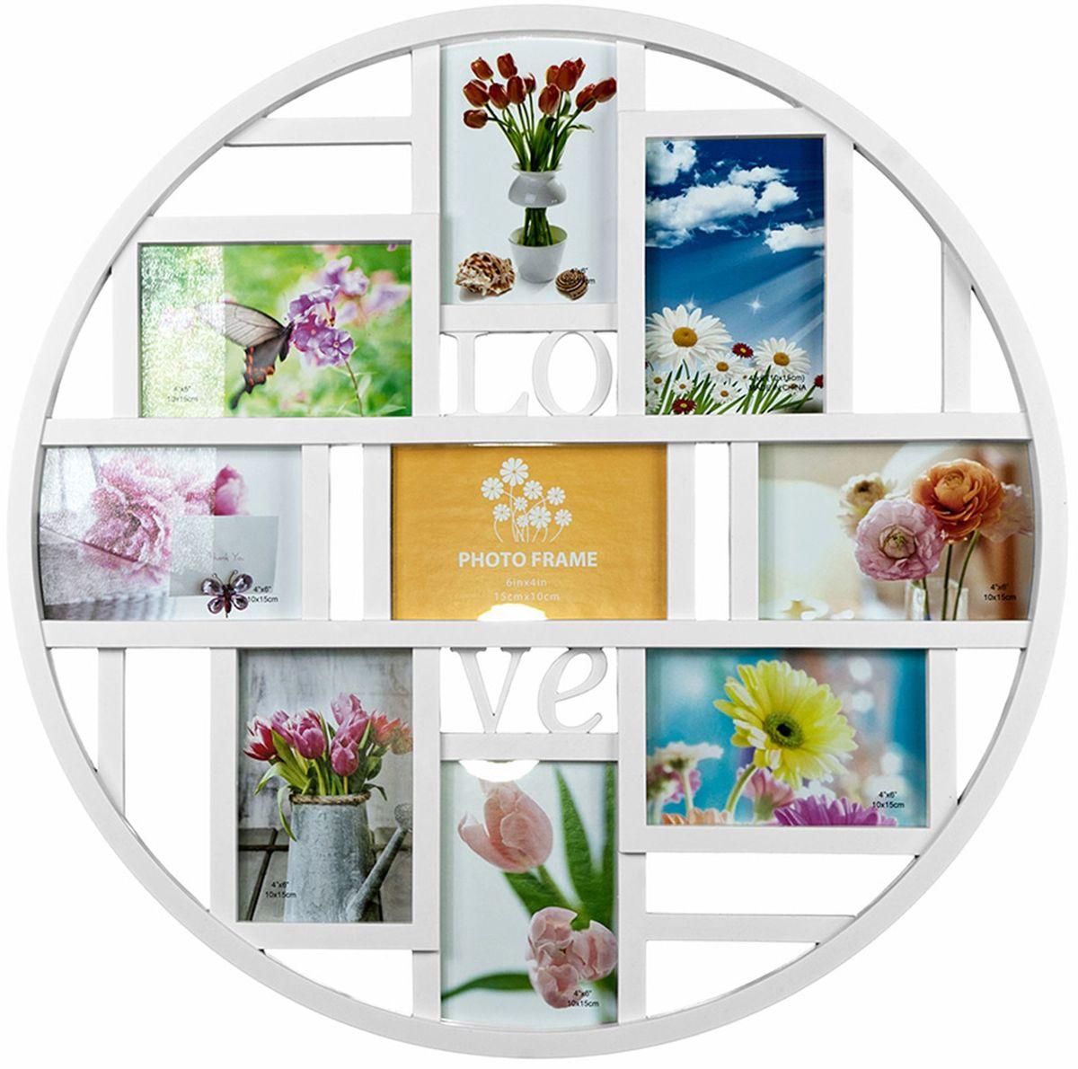 Коллаж Platinum Love, цвет: белый, 9 фоторамок. BIN-1123356BIN-1123356-White-БелыйПластиковый коллаж с 9 фото 10х15 см.
