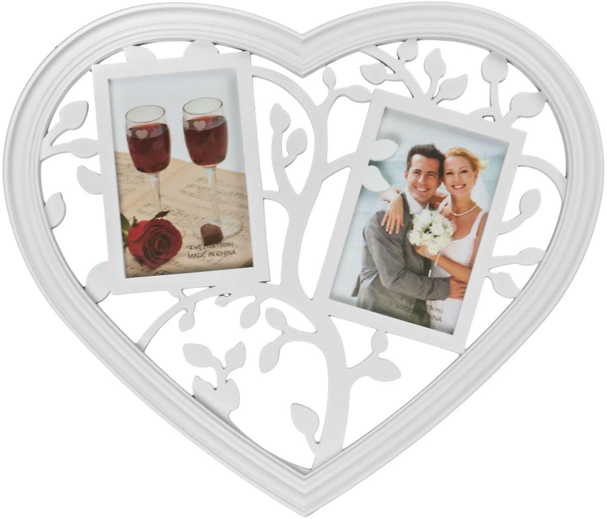 Коллаж Platinum Сердце, цвет: белый, 2 фоторамки. BIN-1123400BIN-1123400-White-БелыйПластиковый коллаж с 2 фото 10х15 см.