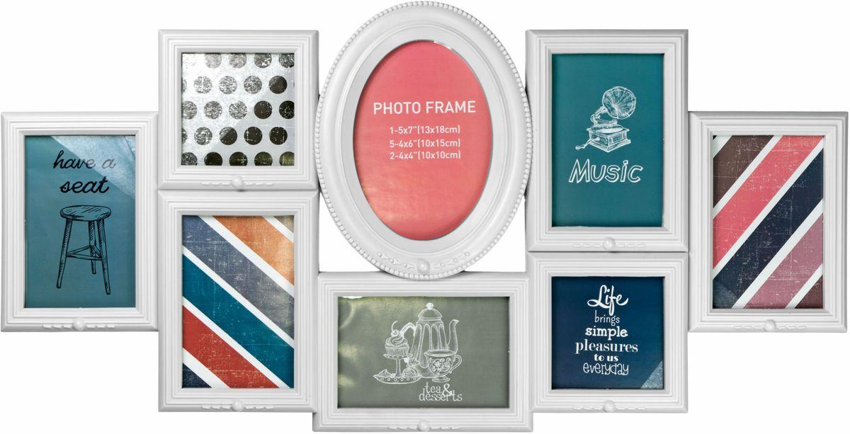 Фоторамка Platinum, цвет: белый, на 8 фото. BIN-1123403BIN-1123403-White-БелыйФоторамка Platinum - прекрасный способ красиво оформить ваши фотографии. Фоторамка выполнена из пластика и защищена стеклом. Фоторамка-коллаж представляет собой восемь фоторамок для фото разного размера оригинально соединенных между собой. Такая фоторамка поможет сохранить в памяти самые яркие моменты вашей жизни, а стильный дизайн сделает ее прекрасным дополнением интерьера комнаты. Фоторамка подходит для 1 фото 13 х 18, 5 фото 10 х 15 см и 2 фото 10 х 10 см. Общий размер фоторамки: 68 х 34 см.