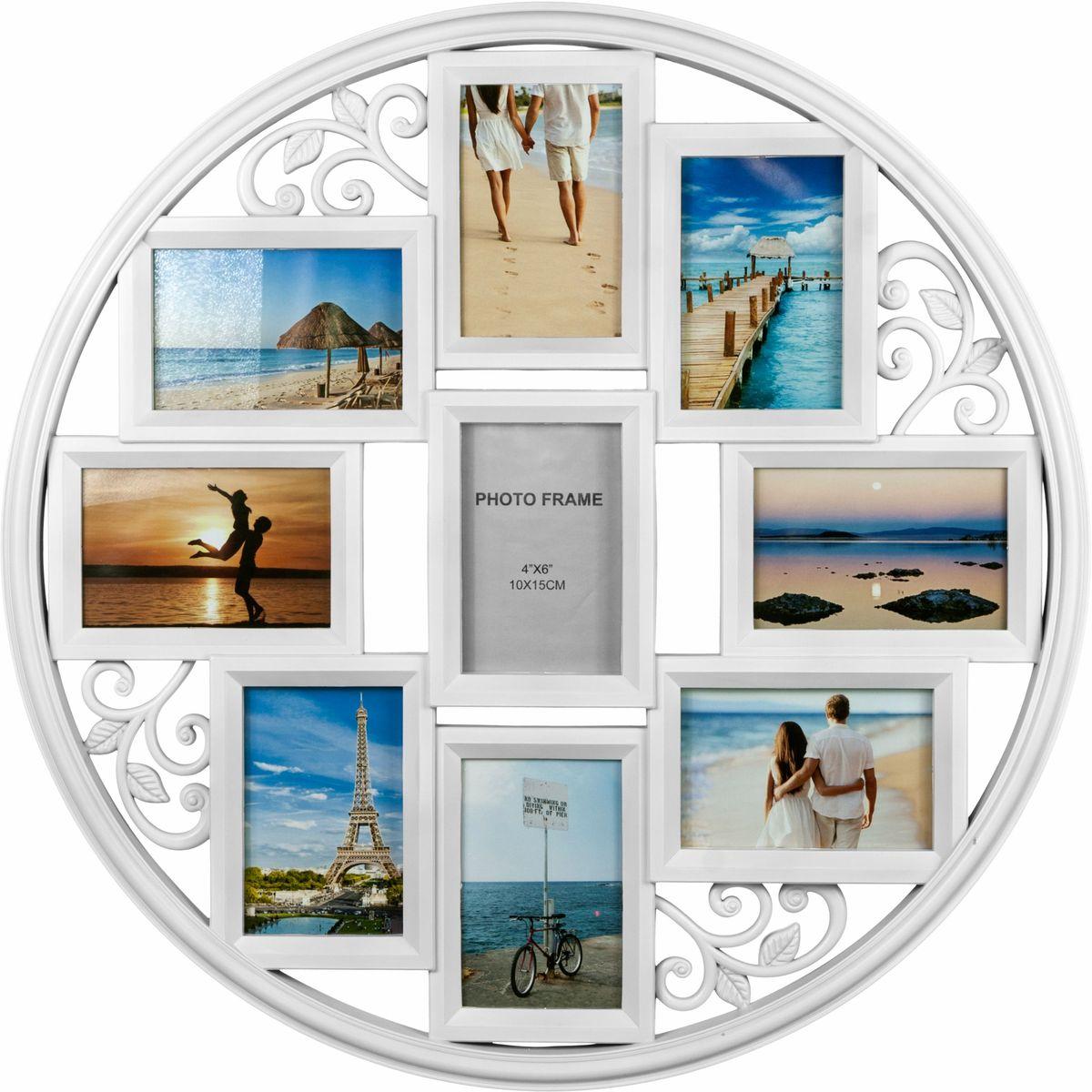 Фоторамка Platinum, цвет: белый, на 9 фото 10 х 15 смBIN-1123645-White-БелыйФоторамка Platinum - прекрасный способ красиво оформить ваши фотографии. Фоторамка выполнена из пластика и защищена стеклом. Фоторамка-коллаж представляет собой шесть фоторамок для фото одного размера оригинально соединенных между собой. Такая фоторамка поможет сохранить в памяти самые яркие моменты вашей жизни, а стильный дизайн сделает ее прекрасным дополнением интерьера комнаты. Фоторамка подходит для фотографий 10 х 15 см. Общий размер фоторамки: 60 х 60 см.