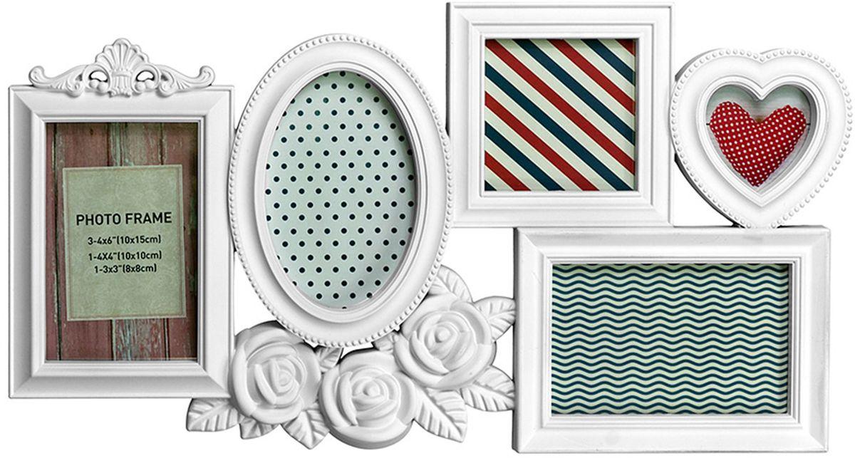 Коллаж Platinum Розы, цвет: белый, 5 фоторамок. BIN-1123675BIN-1123675-White-БелыйПластиковый коллаж с 1 фото 8х8 см, 3 фото 10х15 см, 1 фото 10х10 см.